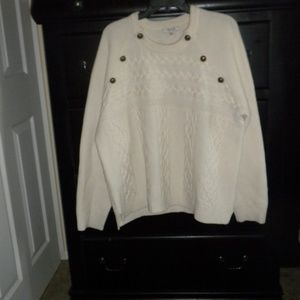 Madewell Merino Wool Blend Cable Sweater Ivory XXL